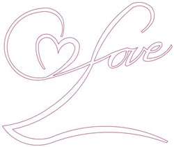 Love Outline embroidery design