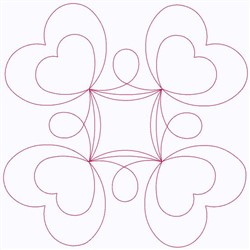 Outline Of Hearts embroidery design