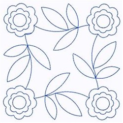 Scandinavian Floral Square embroidery design