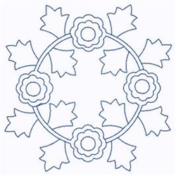 Scandinavian Floral Circle embroidery design