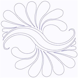 Feathers Outline Continuous Stitch embroidery design
