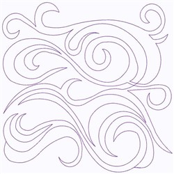 Swirly  Outline Continuous Stitch embroidery design