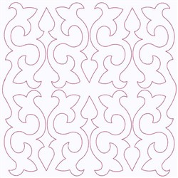 Fleur Block Continuous Stitch embroidery design