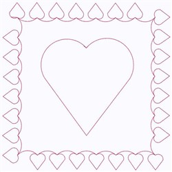 Hearts Block Continuous Stitch embroidery design