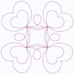 Hearts Block embroidery design