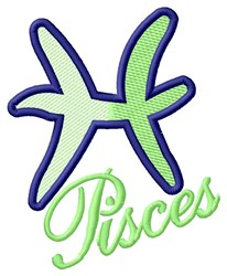 Pisces Zodiac Sign embroidery design