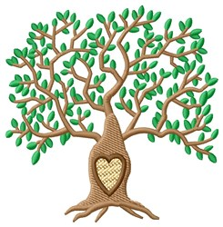 Initial Leafy Tree embroidery design