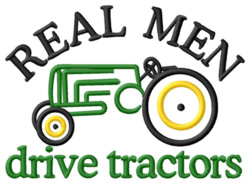 Real Men Tractor embroidery design