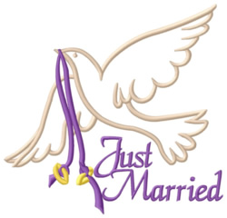 Just Married Rings embroidery design
