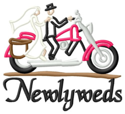Newlyweds on Motorbike embroidery design
