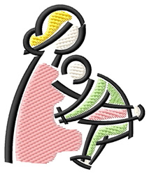 Mom and Baby embroidery design
