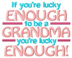 Lucky Grandma embroidery design