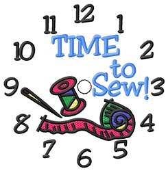 Time To Sew Clock embroidery design