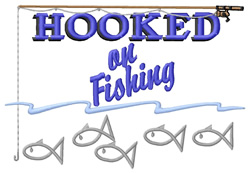 Hooked On Fishing embroidery design