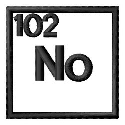 Atomic Number 102 embroidery design