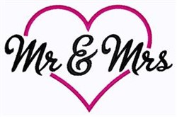 Mr and Mrs Heart embroidery design