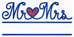 Mr and Mrs Heart Namedrop embroidery design