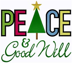 Peace & Good Will embroidery design