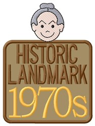 1970s Landmark embroidery design