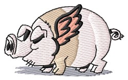 Winged Pig embroidery design