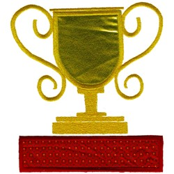 Trophy over Rectangle embroidery design