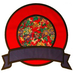 Double Circle with Banner embroidery design