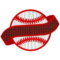 Baseball with Banner embroidery design