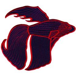 Applique tropical fish embroidery design