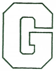 Athletic G embroidery design