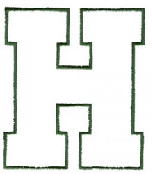 Athletic H embroidery design