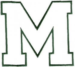 Athletic M embroidery design
