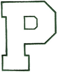 Athletic P embroidery design