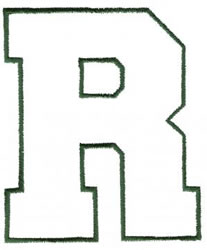 Athletic R embroidery design
