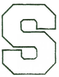 Athletic S embroidery design