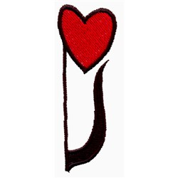 8th Note Heart embroidery design