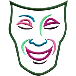 Comedy mask embroidery design