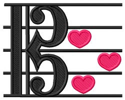 Music Hearts embroidery design
