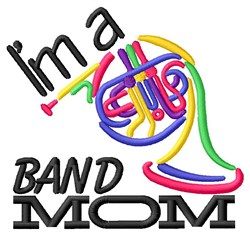French Horn Mom embroidery design