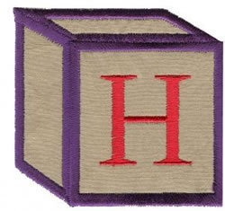 Baby Block H embroidery design