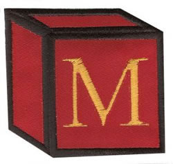 Baby Block M embroidery design