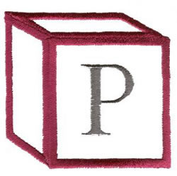 Baby Block P embroidery design