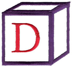 Baby Block D embroidery design