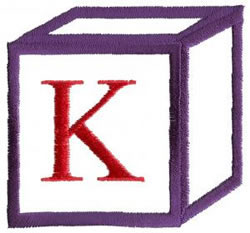 Baby Block K embroidery design
