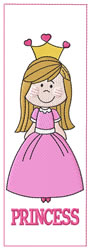 Princess Bookmark embroidery design