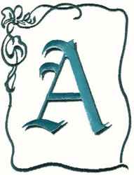 Bow Uppercase A embroidery design