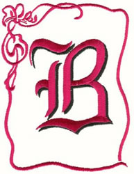 Bow Uppercase B embroidery design