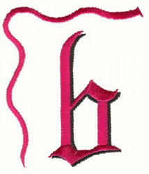 Bow Lowercase b embroidery design