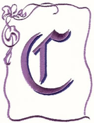 Bow Uppercase C embroidery design