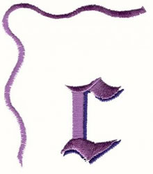 Bow Lowercase c embroidery design