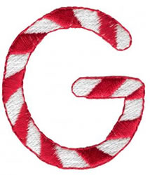 Candy Cane G embroidery design